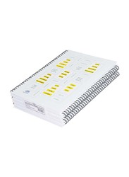 FIS Spiral Hard Cover Single Line Notebook Set, 5 x 100 Sheets, A4 Size, FSNBSA41907, White/Yellow