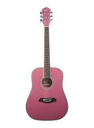 Oscar Schmidt OG1P 3/4 Size Dreadnought Acoustic Guitar, Engineered Wood Fingerboard, Pink