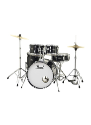 Pearl RS525SC/C31 Roadshow 5-Piece Complete Drum Set with Cymbal and Stand, Jet Black