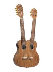 Ortega Hydra Custom Built Series Double Neck Ukulele, Walnut Fingerboard, Natural