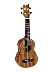 Ortega RUACA-SO Acacia Soprano Size Ukulele with Guitar Bag, Tecwood Fingerboard, Brown