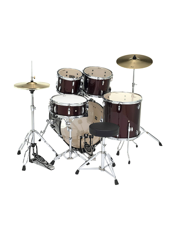 Pearl RS525SC/C91 Roadshow 5-Piece Complete Drum Set with Cymbal and Stand, Red Wine
