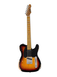 ESP LTD TE-254 Electric Guitar, Distressed 3-Tone Burst, Maple Fingerboard, Black/Orange/Brown