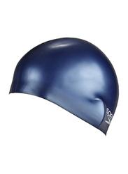 Speedo Plain Junior Moulded Silicone Cap, Size 1, Navy Blue