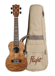 Flight DUC410QA Concert Ukulele with Aquila Super Nylgut Strings, Walnut Fingerboard, Brown