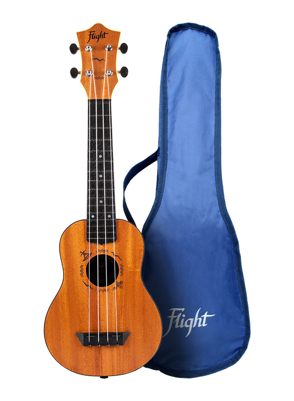 Flight TUS53 Mahogany Soprano Travel Ukulele with Open Geared Tuners, ABS Fingerboard, Brown