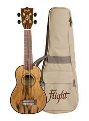 Flight DUS430 Dao Soprano Ukulele with Aquila Super Nylgut Strings, Walnut Fingerboard, Brown