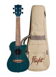Flight DUC380CEQTOPAZ Concert Electro Acoustic Ukulele with Laser Engraved Rosette, Walnut Fingerboard, Teal