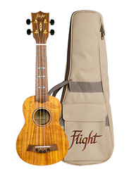 Flight DUS440 Acacia Soprano Ukulele with Aquila Super Nylgut Strings, Walnut Fingerboard, Brown