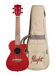 Flight DUC380CEQCORAL Concert Electro Acoustic Ukulele, Walnut Fingerboard, Red