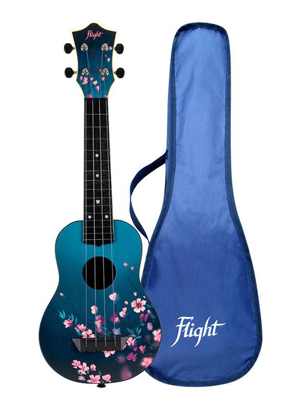 Flight TUS32 Sakura Flight Soprano Travel Ukulele Aquila Super Nylgut Strings, ABS Fingerboard, Cherry Blossom Print