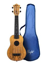 Flight TUS55 Mango Soprano Travel Ukulele Open Geared Tuners, ABS Fingerboard, Brown