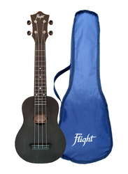 Flight TUS35 Soprano Travel Ukulele Aquila Super Nylgut Strings, ABS Fingerboard, Black
