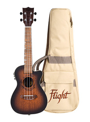 Flight DUC380CEQAMBER Concert Electro Acoustic Ukulele, Walnut Fingerboard, Brown