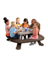 Little Likes Fold n' Store Picnic Table, Brown/Grey