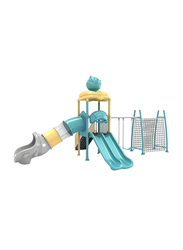 HOCC Macarons Outdoor Play Equipment Playhouses with Two Slide and Net Climbing, Ages 3+