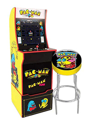 Arcade 1Up 2-in-1 Pacman Machine with Light-up Marquee Stool & Riser, Ages 14+
