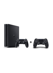 Sony PlayStation 4 Slim Console, 500GB, with 2 Controllers, Black
