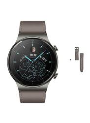 Huawei Watch GT 2 Pro Smartwatch with GT2 Pro Vidar Strap Brown, GPS, Nebula Gray