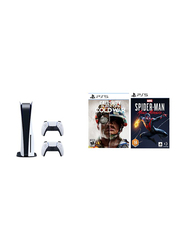Sony PlayStation 5 Console CD Version, with 2 Controller and Games (Spiderman Miles and Morals + Call Of Duty Cold War), White/Black