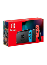 Nintendo Switch Console V2, 32GB, with Left & Right Neon Joy Con, Travel Bag and Scribble Nauts Showdown Game, Black/Blue/Red