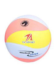 TA Sport Size-5 Cellular Sports Volleyball, Orange/White/Yellow