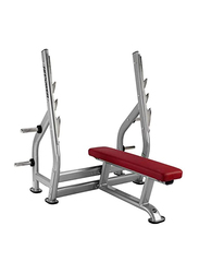 BH Fitness Olympic Flat Press Bench, Silver/Red