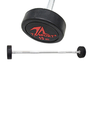 LiveUp LS2032 Rubber Coated Barbell, 15KG, Silver/Black