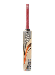 LS Leader Platinum Genuine Willow Cricket Bat, Red/Beige/Grey
