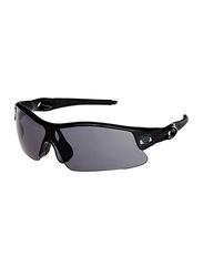 Sareen Sports Half-Rim Sports Heritage Black Frame Sunglasses for Men, Black Lens, 21010021-101