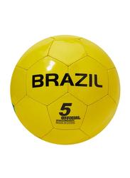 Joerex Brazil Flag Printed Football, Size 5, Yellow/Green