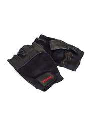 York Fitness Leather Weight Lifting Gloves, Large, Black