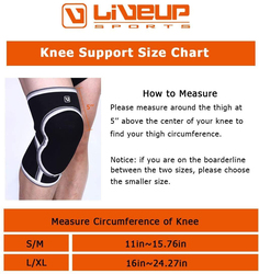 LiveUp Knee Support, Large/Extra Large, Black/White