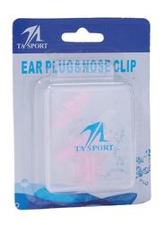 TA Sport Ear Plug & Nose Clip Set, 3-Pieces, Pink