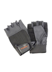 York Fitness Leather Weight Lifting Gloves, Large, Grey