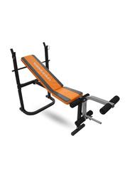 LiveUp LS1102 Fitness Weight Bench, Black/Orange