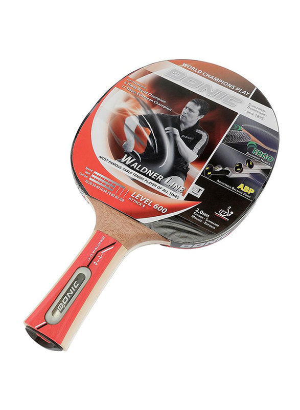 Donic Waldner 500 Table Tennis Bat, Red/Brown