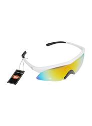 Sareen Sports Half-Rim Sports Prime White Frame Sunglasses for Men, Rainbow Lens, 21010019-101