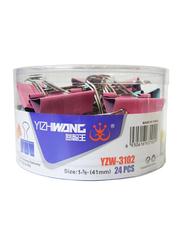 Yizhiwang Binder Clips, 41mm, 24 Pieces, Multicolor