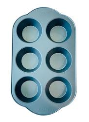 Wisteria 6 Cups Non-Stick (50c) Muffin Pan, Blue