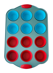 Wisteria 12 Cup Non-Stick (50C) Muffin Pan with Silicone Muffin Cups & Handle, Blue/Red