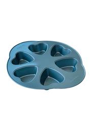 Wisteria 6 Cups Non-Stick (40c) Heart Shape Muffin Pan, Blue