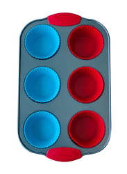 Wisteria 6 Cups Non-Stick (50C) Muffin Pan with Silicone Muffin Cups & Handle, Blue/Red