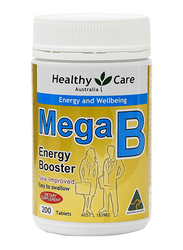 Healthy Care Mega B Energy Booster Dietary Supplement, 200 Tablets