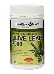 Healthy Care Olive Leaf 3000 Dietary Supplement, 100 Capsules