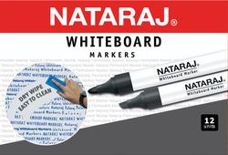 Nataraj 12-Piece Bullet Tip White Board Marker, 2mm, Black