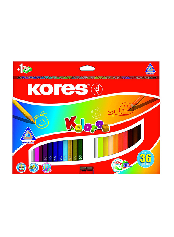 Kores Kolores Triangular Colour Pencils, 36 Piece, Multicolour