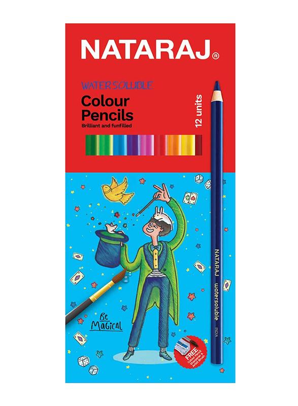 Nataraj Water Soluble Round Colour Pencil with Sharpener, 12 Piece, Multicolour
