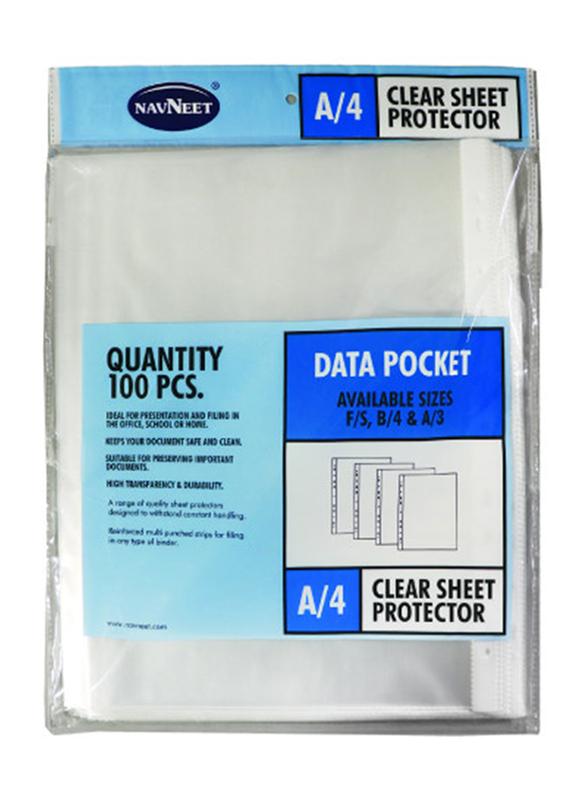 Navneet A4 Sheet Protector, 100 Piece, Clear