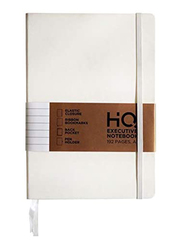 Navneet HQ Executive Casebound PU Notebook, 96 Sheets, A5 Size, White